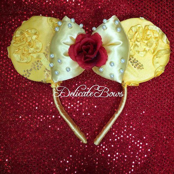 Disney inspired belle ears; beauty and the beast; princess belle; enchanted rose; belle; belle ears; disney ears;