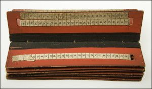 Confederate Cipher Reader Presented to Captain George C. Bain, Chief Signal Officer, CSA, by Captain William N. Barker, Confederate Signal Bureau (1865). This Confederate cipher reader was used to gather and transmit intelligence for the Confederate army. On each of its 15 pages are two ribbons of alphabetized tape, one fixed and one adjustable, which could be manipulated to decipher, and possibly encipher, coded messages. Missouri History Museum