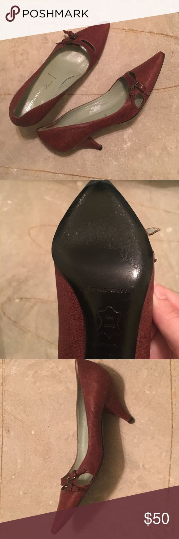 Sigerson Morrison Brown Retro Leather Heels/Pumps Sigerson Morrison size 7 heels. Brown leather exterior, black leather soles. Buckle detail, pointed toe. Sigerson Morrison Shoes Heels