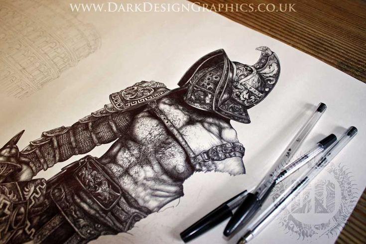 Gladiator Tattoo Design from Dark Design Graphics #tattoo #gladiator #rome #warrior #tattooart #ink #art