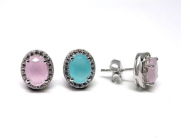 Pendientes de plata de primera ley con piedras naturales ovaladas de color azul o rosa de cuarzo en presion y con circonitas por alrededor.  REF.:110229940143. PRECIO: 39,30 €