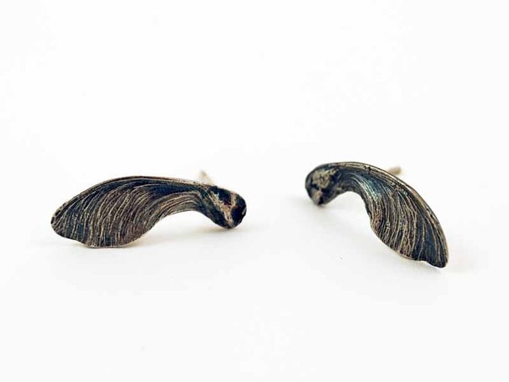 Junction Art Gallery - Lucy Sylvester Sycamore Studs, oxidised silver
