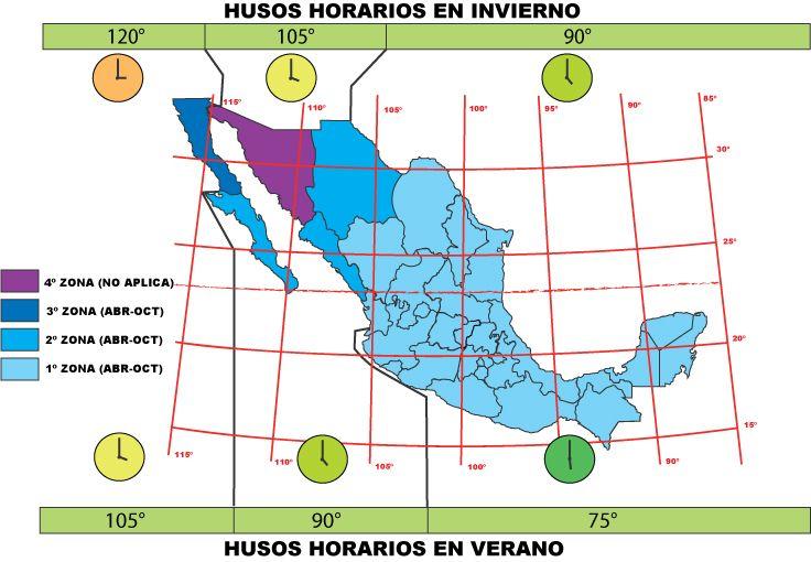 Husos Horarios en Verano & Invierno de Mexico » http://CFE.gob.mx/SiteAssets/Lists/PreguntasFrecuentes/EditForm/HusosHorarios.jpg