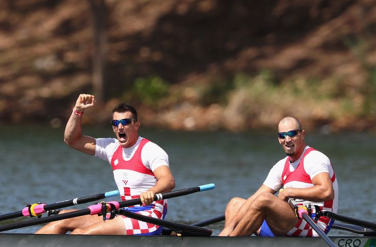 Martin Sinkovic and Valent Sinkovic of Croatia react after winning the gold medal in the Men's Double Sculls Final A on Day 6 of the Rio 2016 Olympic Games at the Lagoa Stadium on August 11, 2016 in Rio de Janeiro, Brazil.