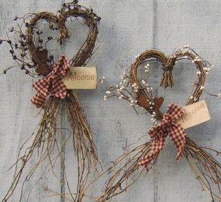 Heart Shaped Grapevine Wreath :: Heart styles :: Wreaths :: Wholesale Country Primitive Gifts/ Kp Home Collection