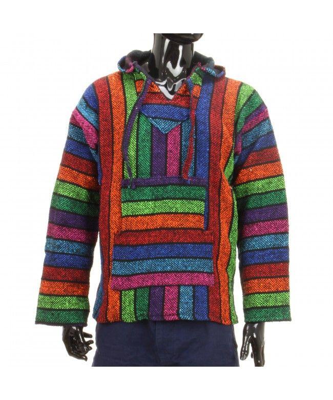 Siesta Mexican Baja Jerga hooded hippie jumper - Rainbow