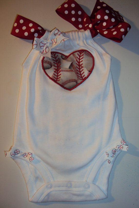 Baby Girls Baseball Romper Onesies. SOMEONE NEEDS TO MAKE THIS FOR NE WHEN WE HAVE BABIES!!! -Vanessa