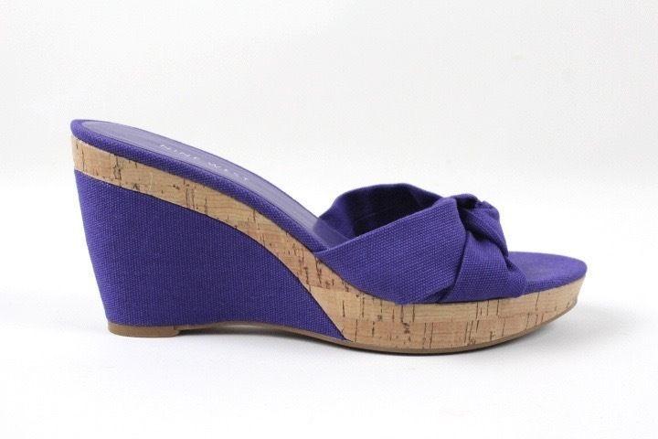 Nine West Fabric Knot Purple Wedge Sandals - Size 7.5 #NineWest #Sandals