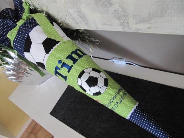 Schultüte Zuckertüte Fussball grün-blauJungen von LOTTANELLI auf DaWanda.com