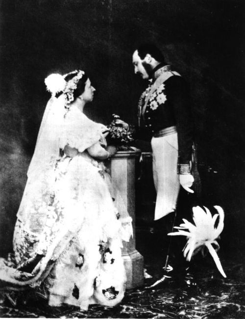"""The History and Future of the Couture Bride: Queen Victoria has  several portraitsand paintings where she """"recreates"""" her wedding to Prince Albert. This is them  when they were middle-aged."""