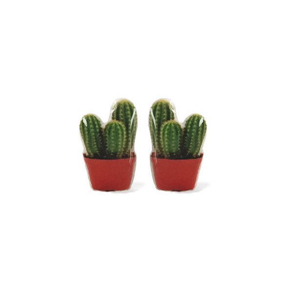 Cactus Earrings -Hypoallergenic Surgical Steel Studs ($9.95) ❤ liked on Polyvore featuring jewelry, earrings, surgical steel earrings, earring jewelry, surgical steel stud earrings, clay jewelry and polish jewelry