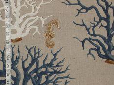 Blue coral seahorse fabric