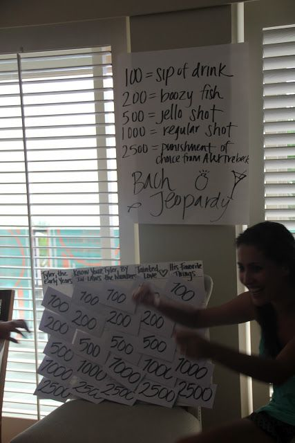 Bachelorette Jeopardy. Need to do this for my next sister's wedding!