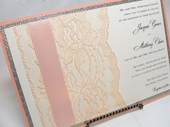 Glitter And Lace Wedding Invitations By