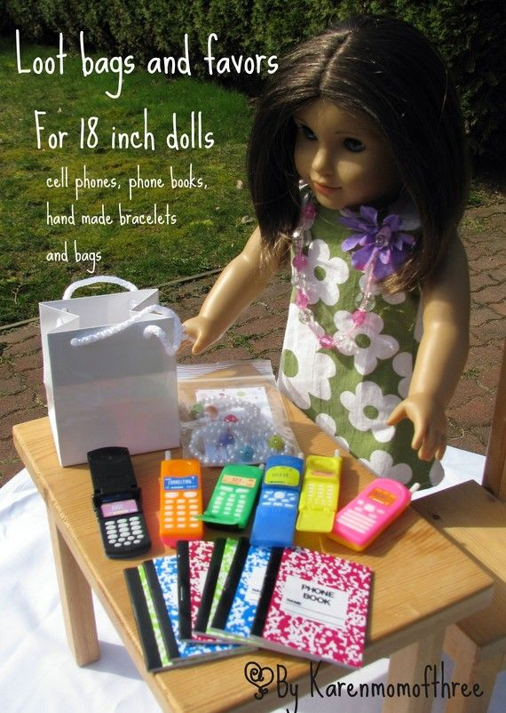 Doll party favors, cute idea for an A.G. Party.