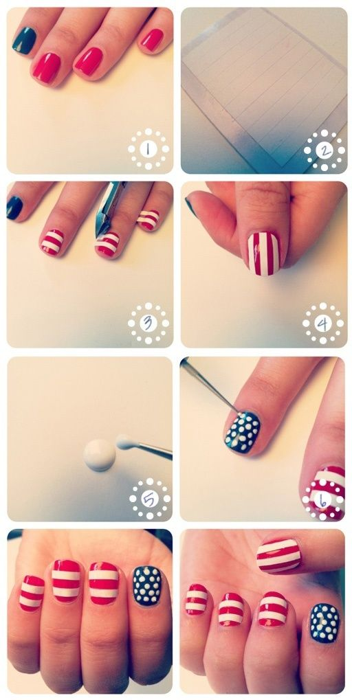 4th of july fingernail art