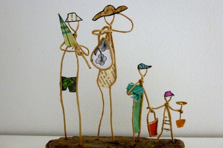 On part à la plage ! - figurines en ficelle et papier : Accessoires de maison par ficelleetpapier