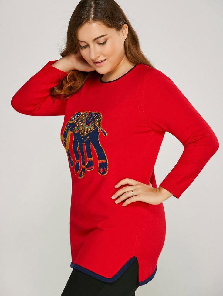 Elephant Pattern Plus Size Sweater 17