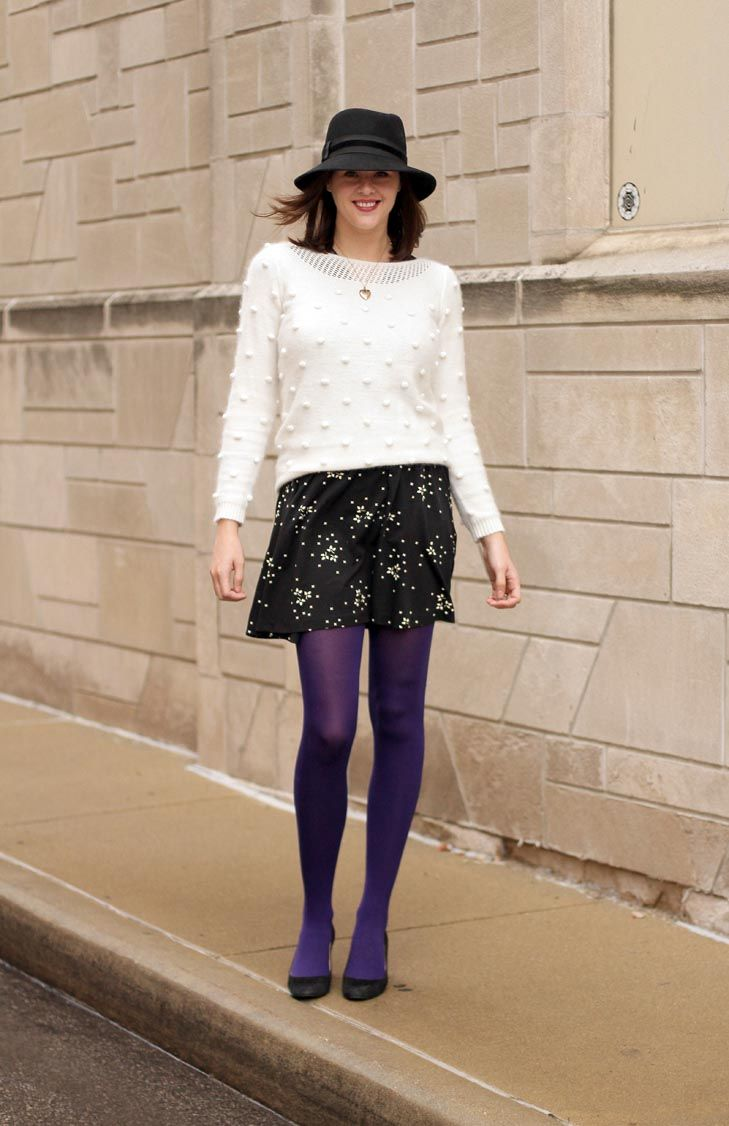 Purple Tights, How to wear Purple Tights, How to wear a hat, sweater over dress, remix challenge, purple, 1920s locket, Jessica Quirk, What I Wore Jessica, What I Wore blog, fashion blog, Fashion blogger, Personal Style Blog