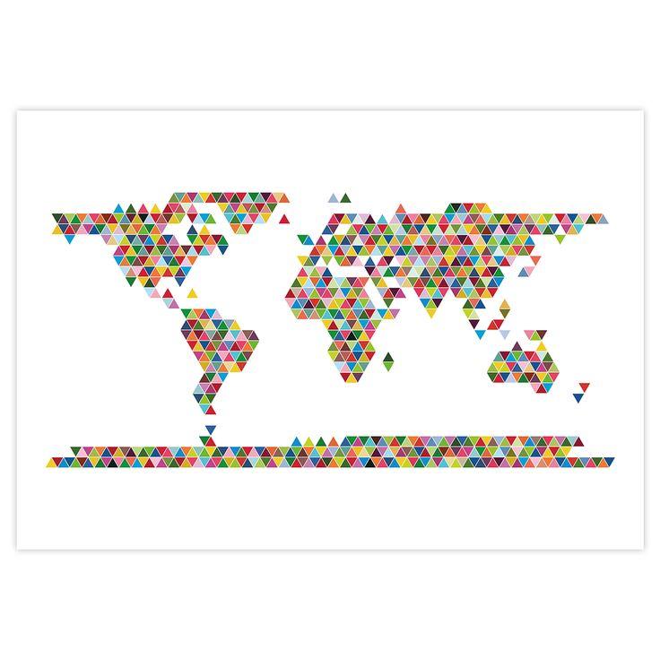 Wereldkaart poster triangle 100 x 70 cm | te koop op ikwilmeerreizen.nl/shop