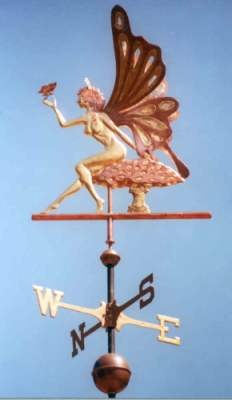 Fairy Weathervane by West Coast Weather Vanes.  This magical Fairy Weather vane has beautifully  designed wings as does the small butterfly on her hand.  www.westcoastweathervanes.com