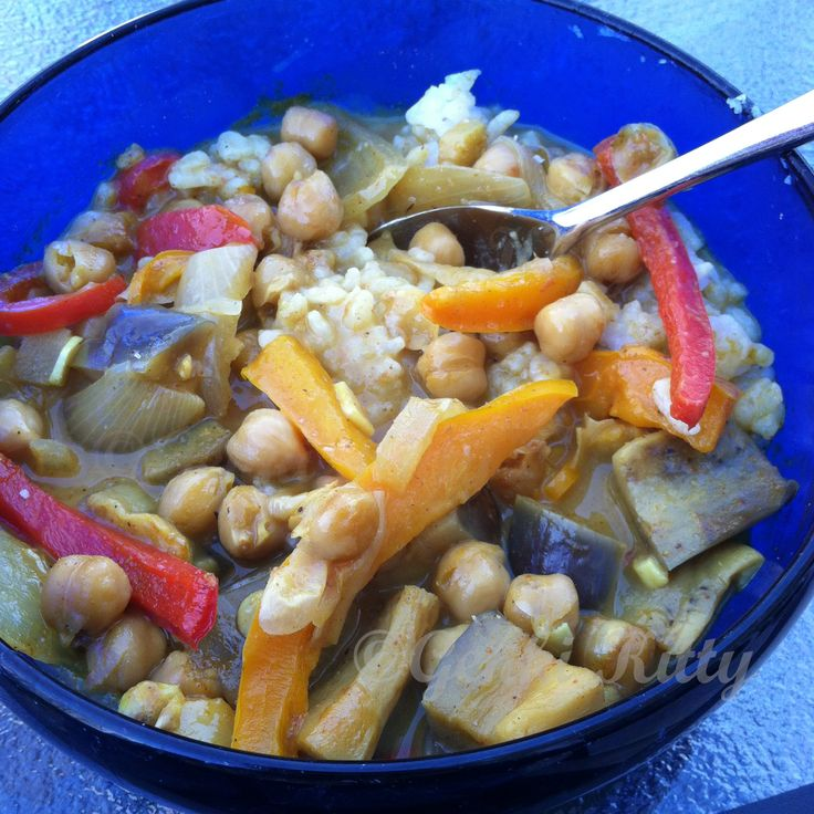 Eggplant and Chickpea Coconut Curry Vegan Recipe