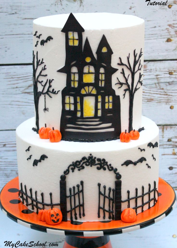 haunted house cake a cake decorating video tutorial - Simple Halloween Cake Decorating Ideas