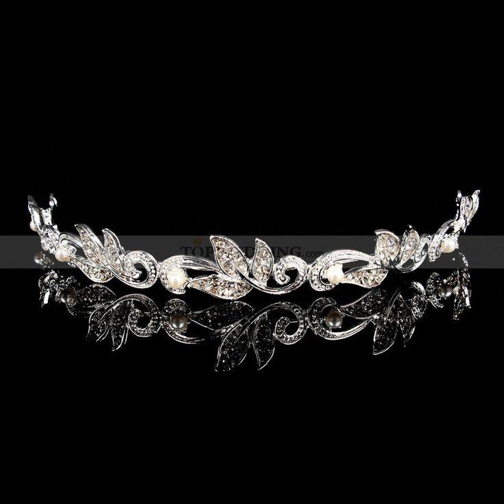 Silver legering tiaror med pärldetaljer hg130065, 84kr