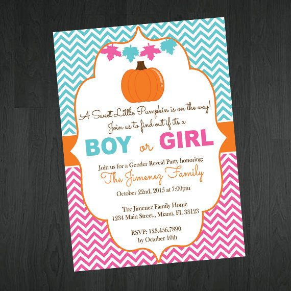 Fall Pumpkin Gender Reveal Invitation - Pumpkin Gender Reveal Invitations by MemorableImprints