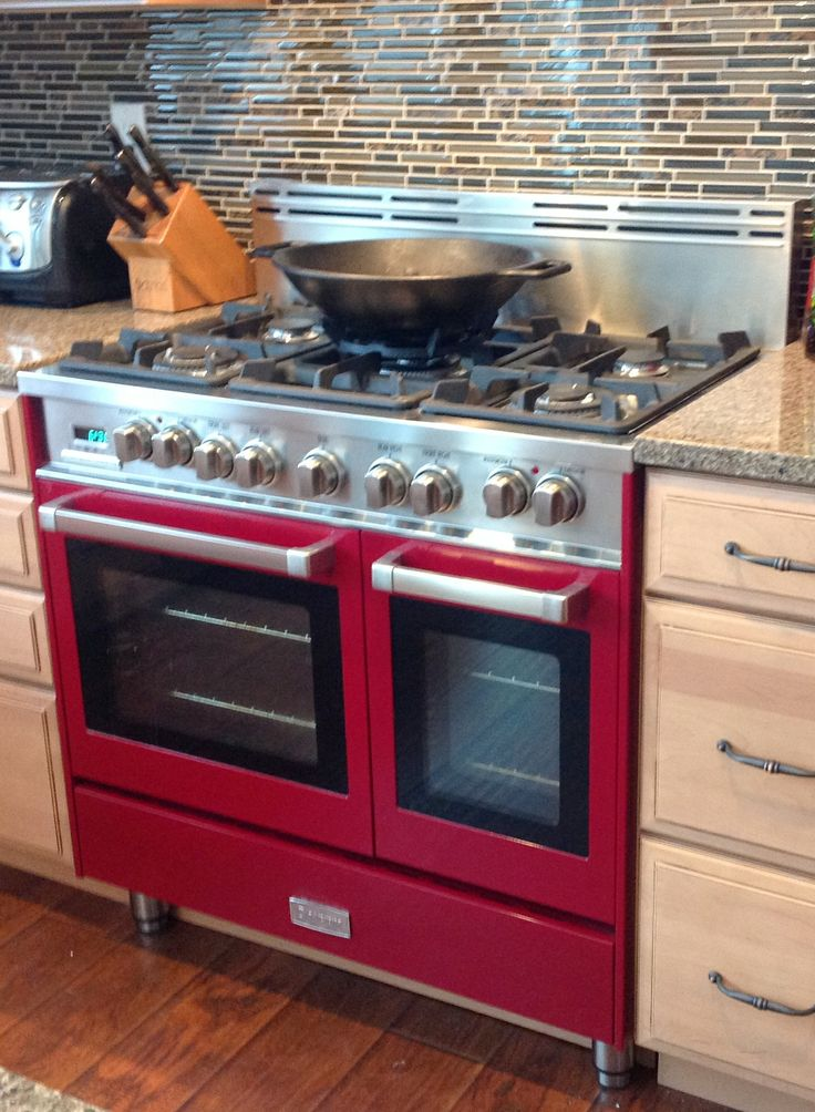 verona 36inch double oven range in burgundy adams center ny - Gas Range Double Oven
