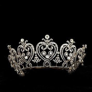 Manchester Tiara, Victoria and Albert Museum.  This is a large, heavy tiara, measuring 4 inches high all around.