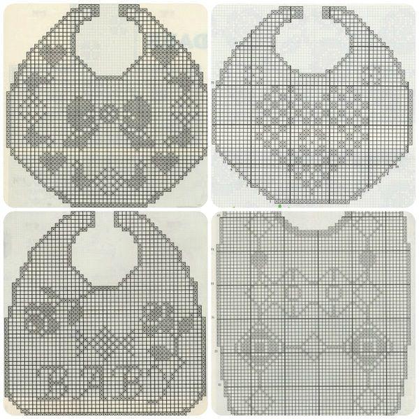 Quattro schemi gratis per fare bavette a filet #crochet