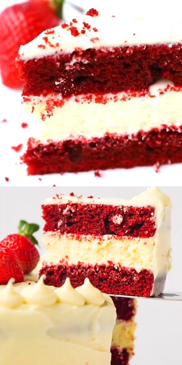 Red Velvet Cheesecake Cake Rezept – schön, lustig und lecker! Perf …   – Torten und Kuchen