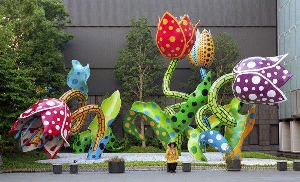 Yayoi Kusama - The Visionary Flowers installed at the Matsumoto City Museum o...