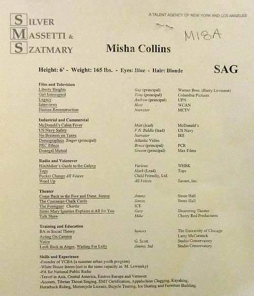 Pinterest  Misha Collins Resume