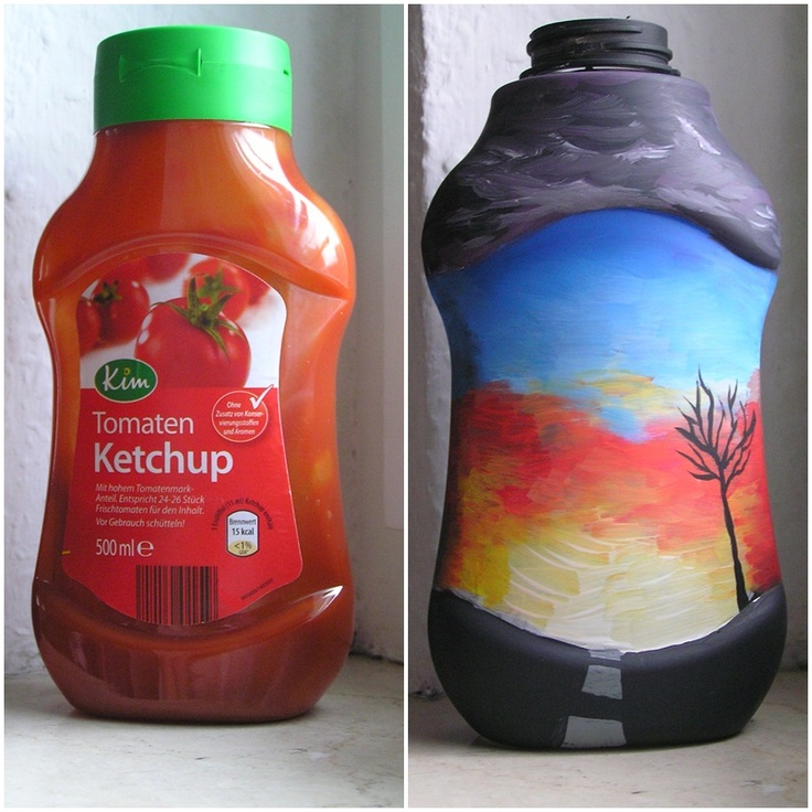 ketchup bottle with road scene