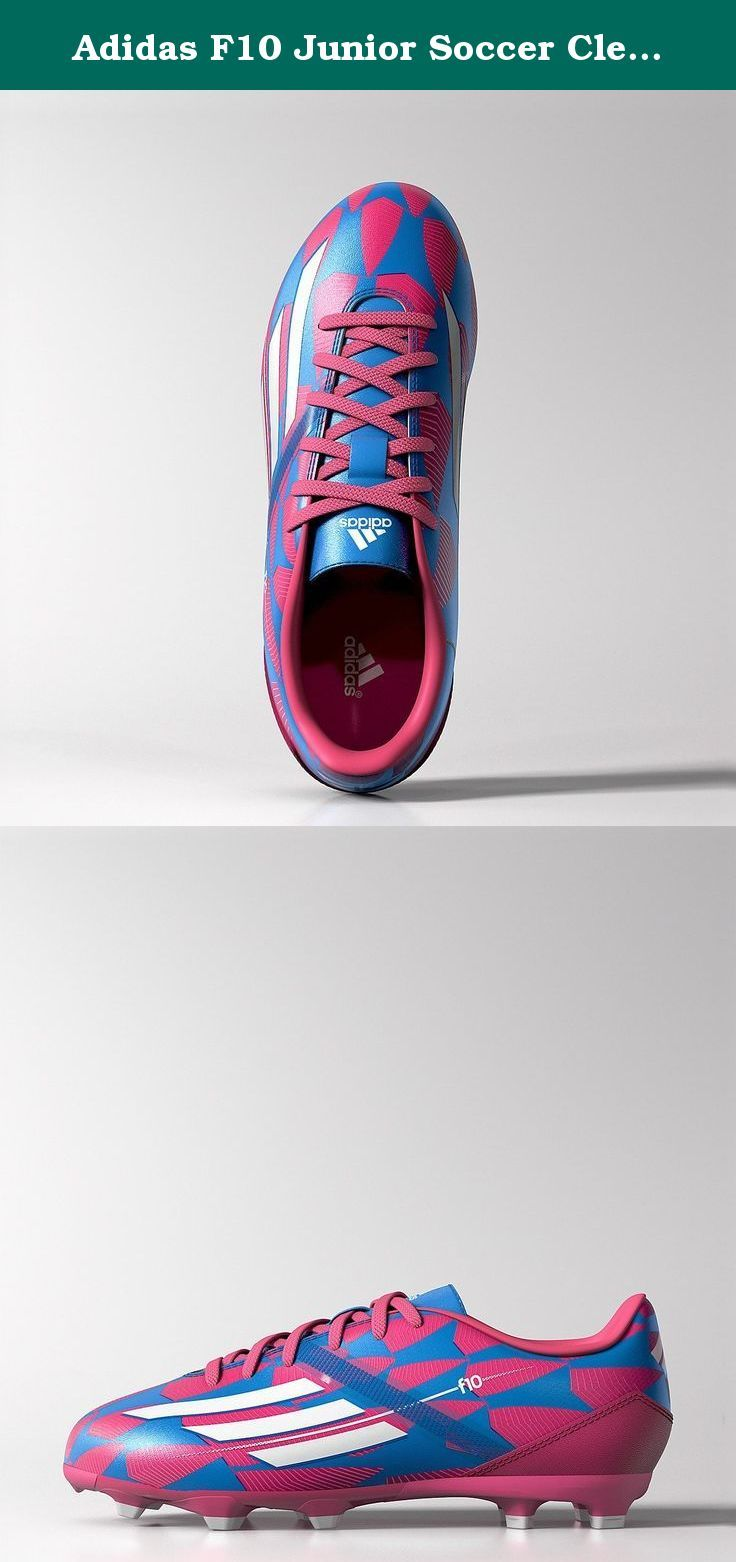 Adidas F10 Junior Soccer Cleat (Pink, Blue) Sz. 4.5. Men's soccer cleats.