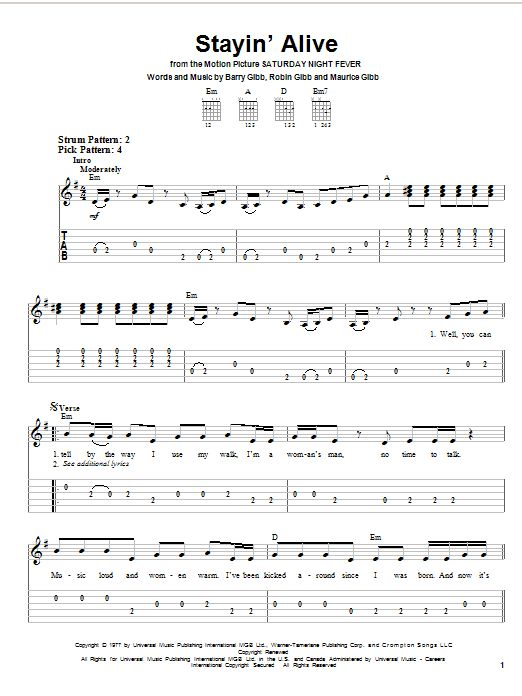 Stayin' Alive by Bee Gees - Easy Guitar Tab - Guitar Instructor