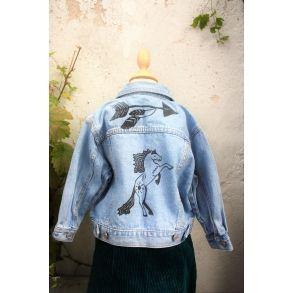 Cowboy jakke med fedt indianer look str. 2 år, upcyclet genbrug