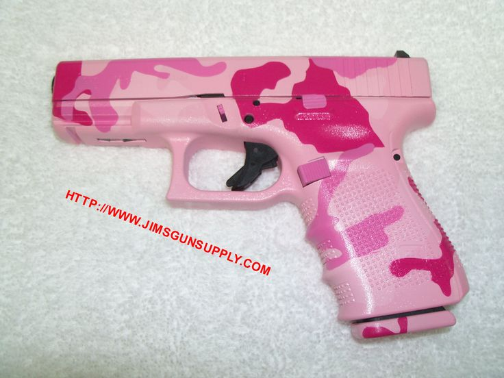 Glock 23 handgun, customized in pink camo Duracoat finish by Jim's Gun Supply