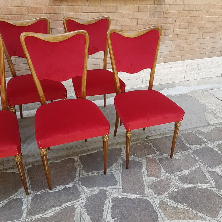 Osvaldo Borsani Dining Room Chairs Italian Mid Century Design 1940s  Eight Osvaldo Borsani dining chairs with brass ornaments at front legs. From the Italian Mid Century Furniture Collection https://www.italianmidcenturyfurniture.com/  These Borsani Varedo dining room chairs are restored with new red 100% cotton velvet upholstery. Wood structure is oak with visible natural veneering and have been polished without altering his natural  color