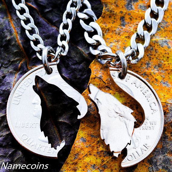 Howling Wolf Bff Necklace for 2, Friendship gifts, Wolves, Interlocking Puzzle Necklaces, Best Friends Forever, hand cut coin