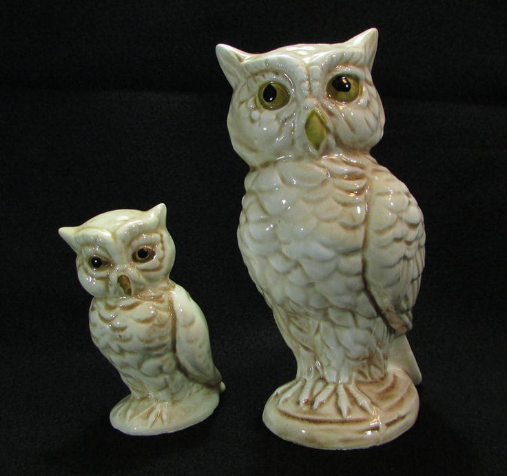 Great Two Vintage White Horned Owl Figurines Ceramic UCGC Taiwan Owls Family  Asian Antique #owl #