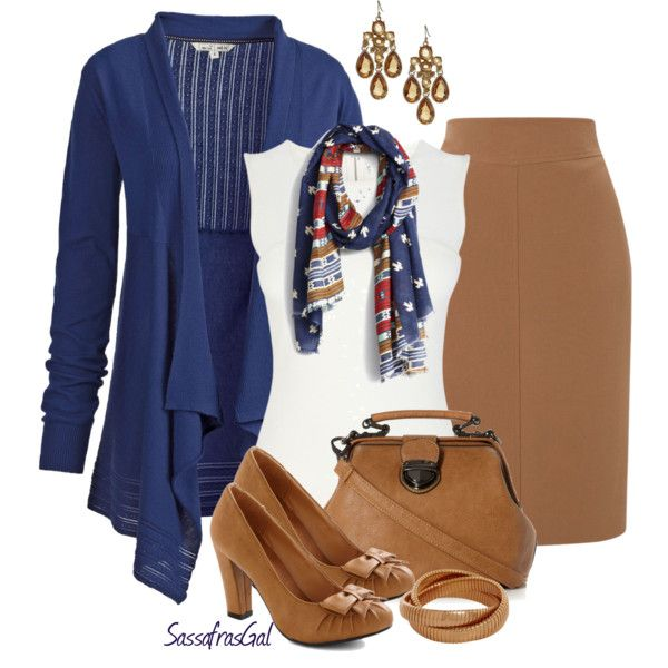 Camel & Navy, created by sassafrasgal on Polyvore