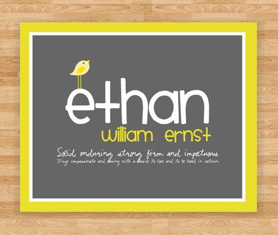 Art Print - Personalized Birth Announcement Wall Art - Baby Boy Room - Gray/Yellow. $15.00, via Etsy.