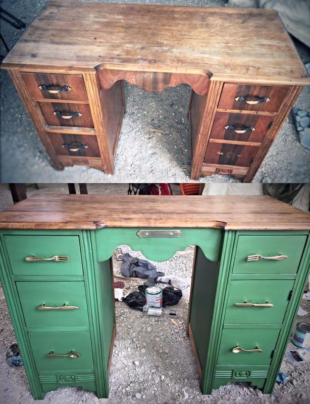 Desk Re-do!  Makeover, valspar, chalk paint, antique, destressed, antiquing wax, peridot broche, smart art, green.