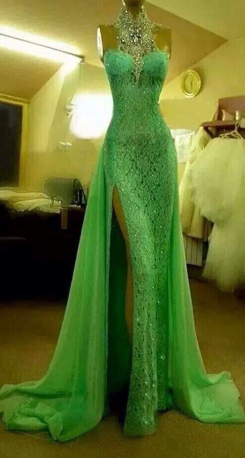 2017 Custom Made Green Lace Prom Dress,Sexy Halter Evening Dress,Beading Side Slit Party Dress