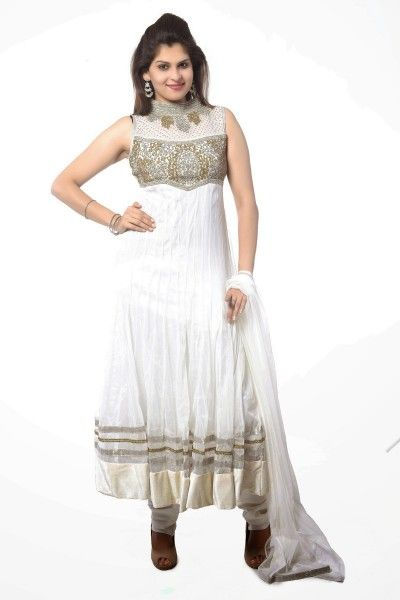 Presenting White Net #Anarkali #Suit with Zari Work and Lace Work - Rs. 5,149. #zohraa
