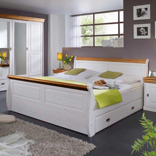 COLOSSEO Schlafzimmer Kiefer massiv weiß\/honig Jetzt bestellen - schlafzimmer kiefer weiß