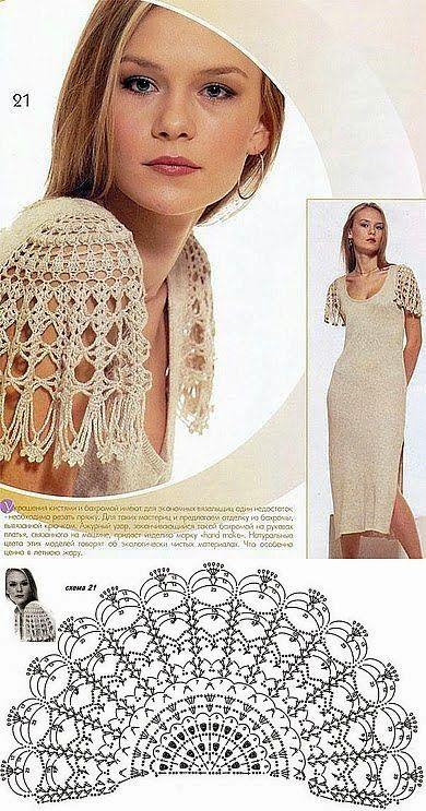 Crochet y dos agujas: Diseño de mangas para vestido al crochet: